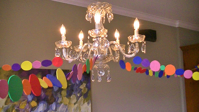 Rainbow party DIY garland