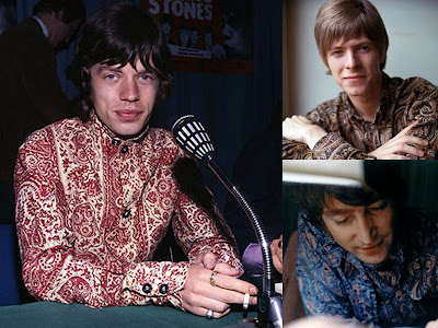 Jagger, Bowie & Lennon sporting paisley shirts