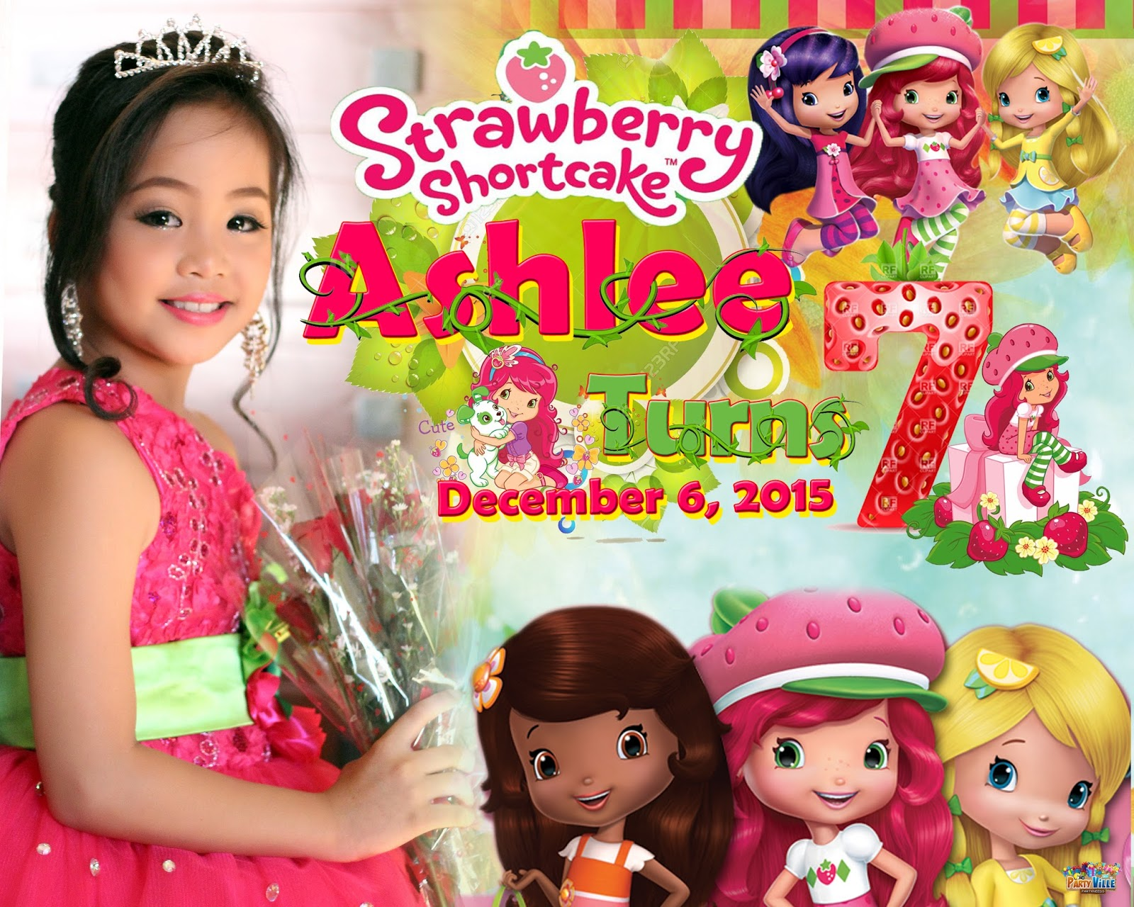 best design for seventh birthday strawberry shortcake