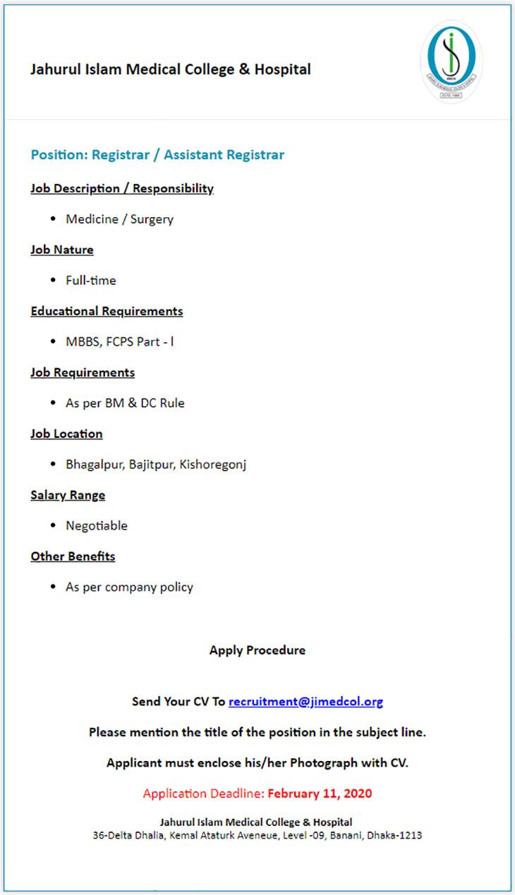 jahurul islam medical college hospital job circular 2020