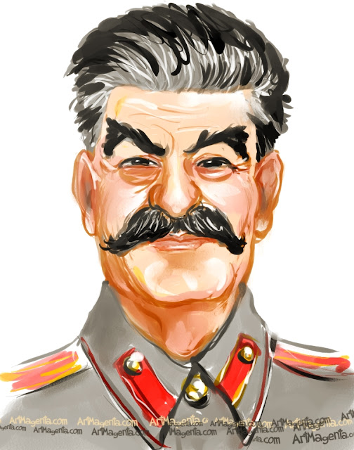 Joseph Stalin caricature cartoon. Portrait drawing by caricaturist Artmagenta