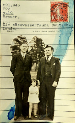Nietzsche library card French lady liberty postage stamp vintage black and white family photo Dada Fluxus mail art collage