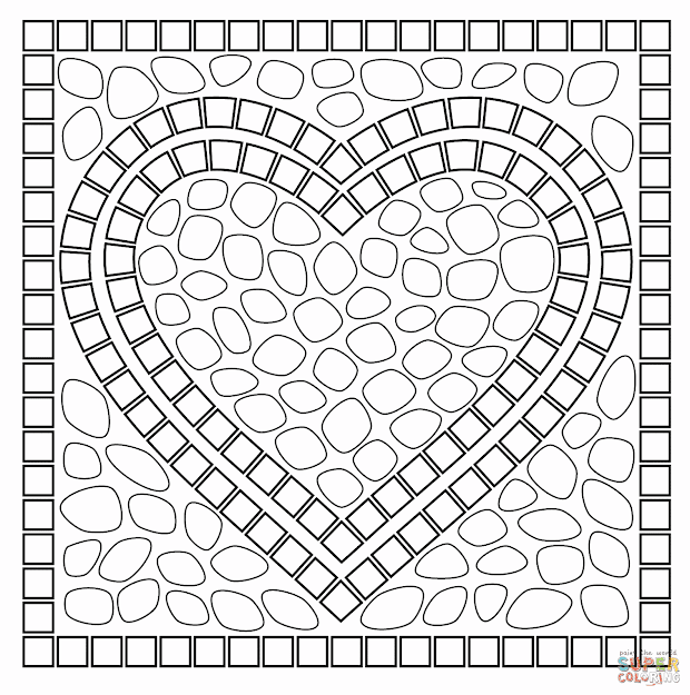 Free Printable Coloring Pages Mosaic On Paw Patrol Hearts Coloring Page