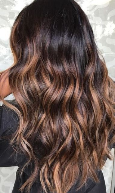 03 rich and shiny brunette base with dark caramel sunkisses