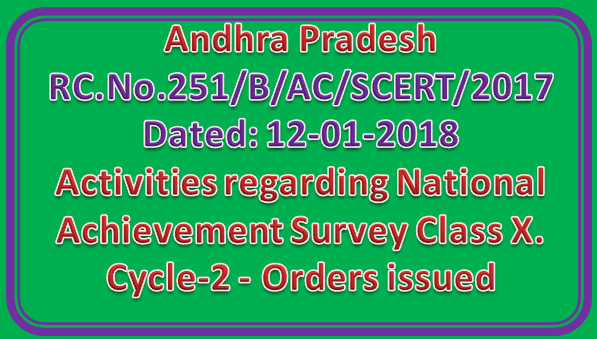Activities regarding National Achievement Survey Class X. Cycle-2 - Orders issued