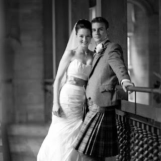 Bride and Groom in Highland Castle for their Wedding