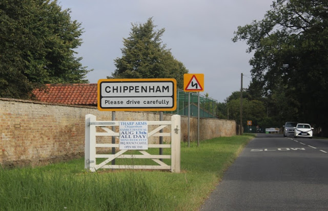 Road sign on the way into Chippenham, Cambridgeshire