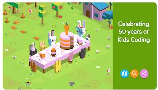 Google Doodle - celebrating 50 years of kids coding