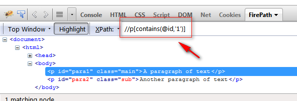contains in xpath