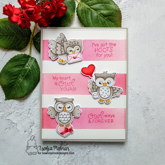 Owl Valentine Card by Zsofia Molnar | Love Owl-ways Stamp Set by Newton's Nook Designs #newtonsnook #handmade