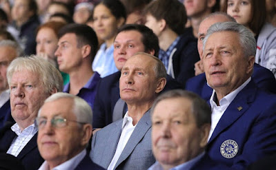Vladimir Putin during the Hockey match in Shaiba Arena.