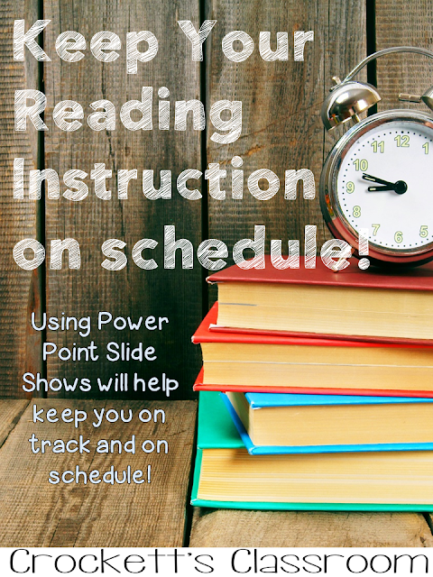 Wonderful way to keep our reading instruction organized and on schedule.  Create power point presentations so everything you need is right at your fingertips.