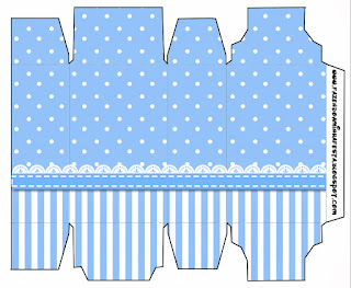 Light Blue with Stripes and Polka Dots: Free Printable Boxes.