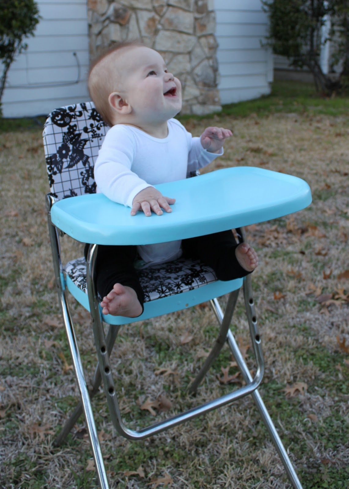 Retro High Chairs Babies White Chair Covers With Black Sash A Vintage Highchair Makeover Tutorial Bare Feet On The Dashboard I Love Using Pieces Because They Are Often So Much Higher Quality Than Plastic Crap From Target We And Have Our Share Of Baby