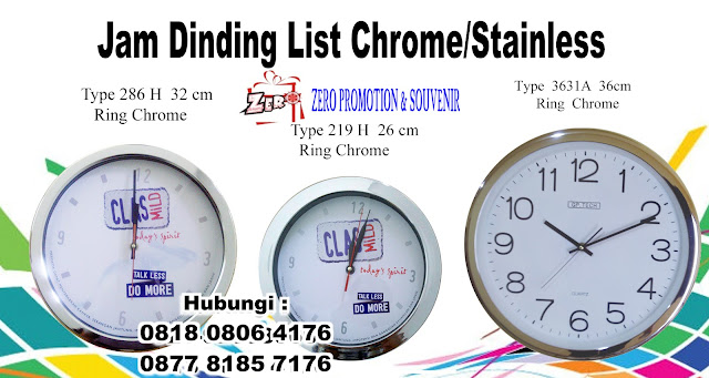 Jam Dinding List Chrome/Stainless , Chrome Jam Souvenir Perusahaan