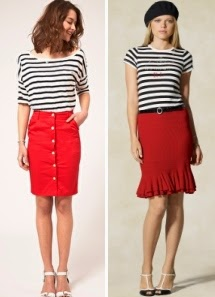 cdbe64c73e Red skirt worn with T-shirts, tops, blouses in black and white stripes. But  the variant with a blue and white as well as red-white stripe.