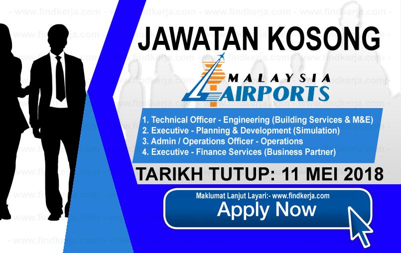 Jawatan Kerja Kosong MAHB - Malaysia Airports Holdings Berhad logo www.findkerja.com mei 2018