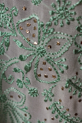 Chikankari Saree : Pure Geogette, Resham Embroidery, Mukaish work