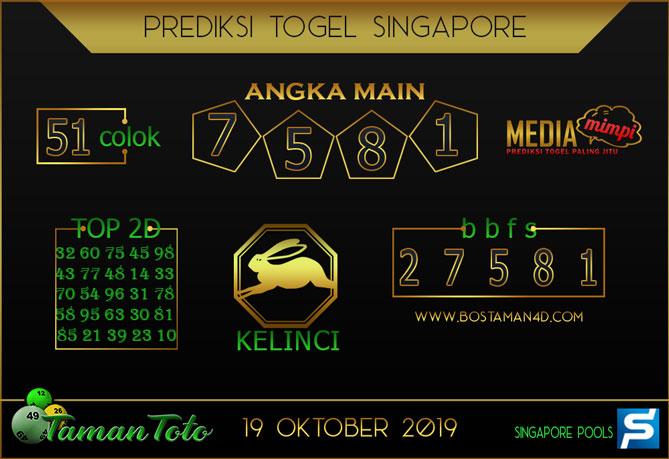 Prediksi Togel SINGAPORE TAMAN TOTO 19 OKTOBER 2019