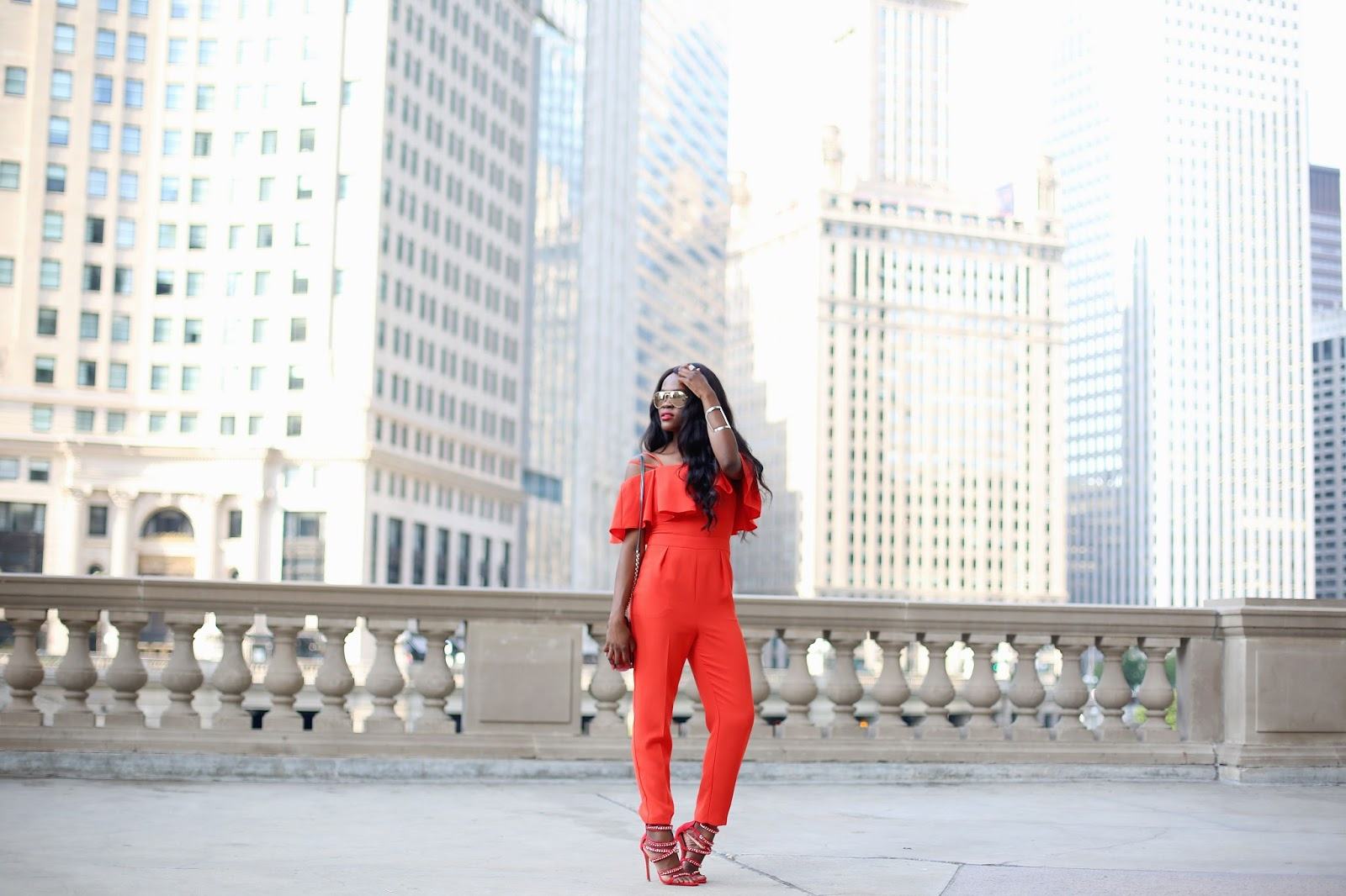 Red Off Shoulder Jumpsuit, Chicago Lifestyle blogger