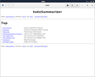 The todoSummarizer's help viewer