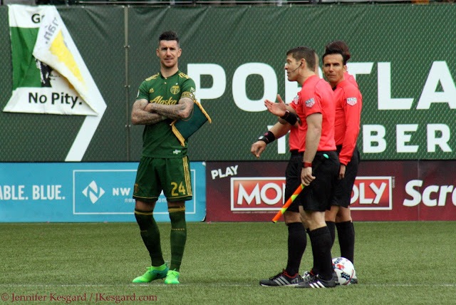 liam ridgewell puts on a show in front of the officials