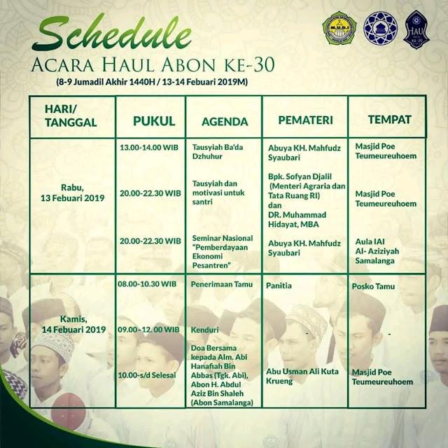 Ini Schedule Acara Haul Abon Abdu, Aziz Ke-30