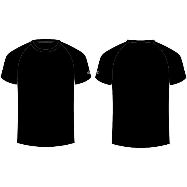 Template Kaos Hitam Polos Lengan Gambar Baju Biru