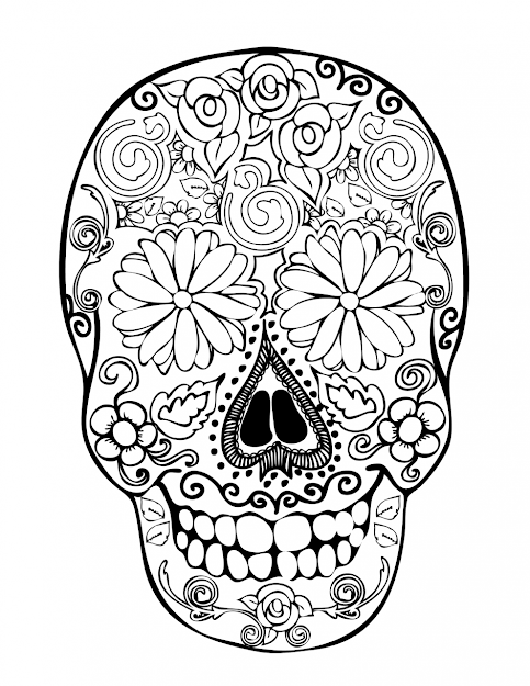 Images About Sugar Skull Coloring Pages On Pinterest Within The Most  Stylish As