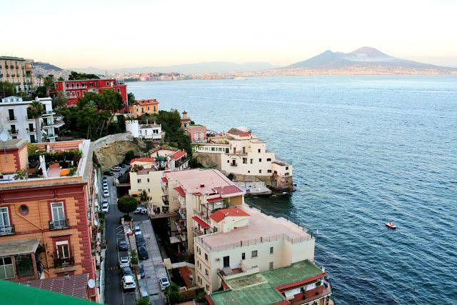mare, acqua, Posillipo, macchine, strade, case, Vesuvio