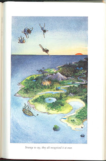 A full-page illustration of children flying in the air above an island.