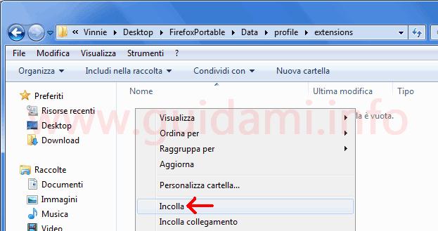 Incollare estensioni nella cartella extensions del profilo utente Firefox