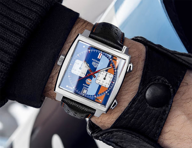 Wristshot of the TAG Heuer Monaco Gulf Special Edition 50th Anniversary