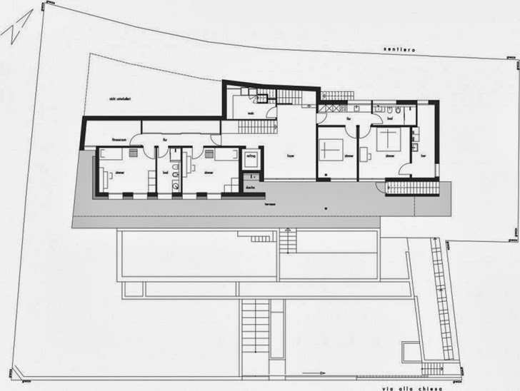 First floor plan of Beautiful House Lombardo by Philipp Architekten