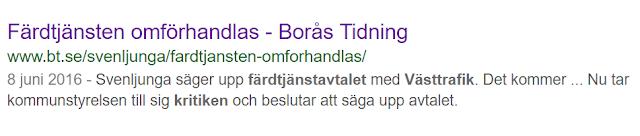 Skärmdump på sökresultatet i Google sök till artikeln där texten säger att Svenljunga kommun säger upp färdtjänstavtalet med Västtrafik