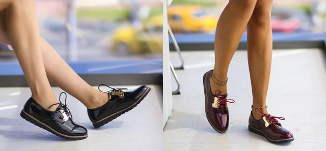 Pantofi casual dama ieftini de toamna din piele lacuita negri, grena
