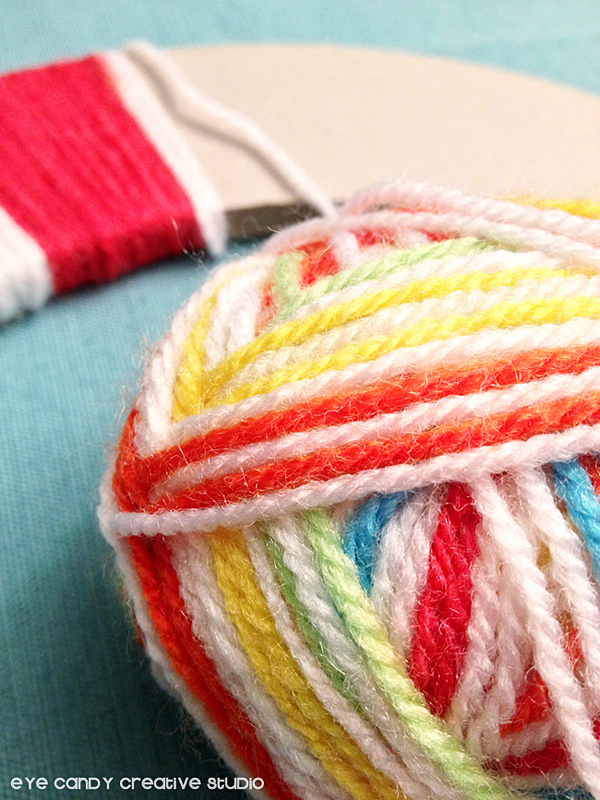 rainbow yarn, supplies to make a yarn wreath, yarn wrapped, how to