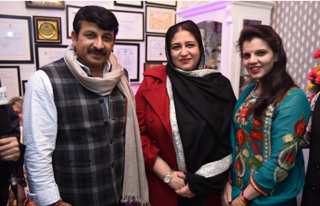 Delhi BJP chief and MP Mr Manoj Tiwari, H/E Bahrain Madam Mariam, Mrs Palka Grover