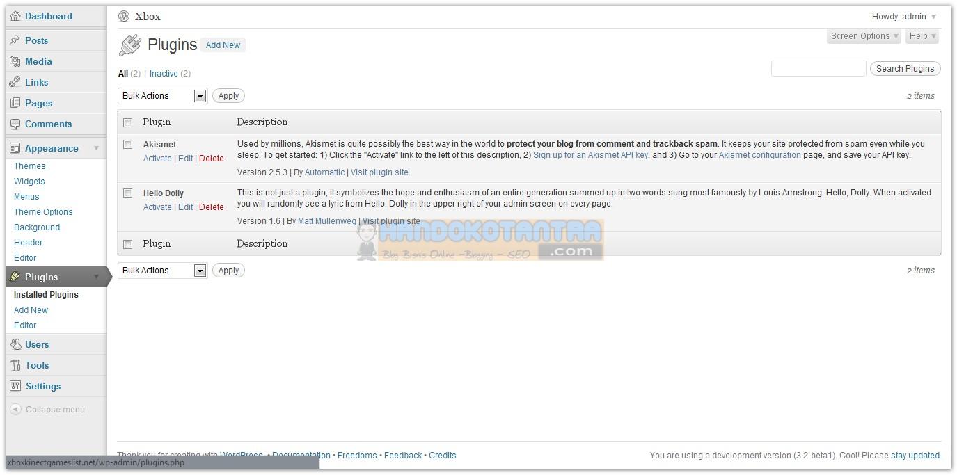 Tampilan Plugin WordPress versi 3.2