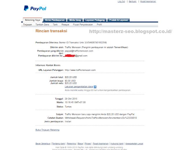 Bukti pembayaran bisnis online Trafficmonsoon