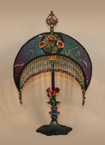 vintage lamp embroidery
