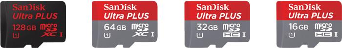 サンディスク「Ultra PLUS」マイクロSDカードの商品ラインナップ