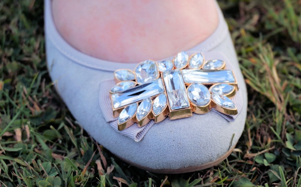 George at Asda embellished bow ballet shoes in grey // www.xloveleahx.co.uk