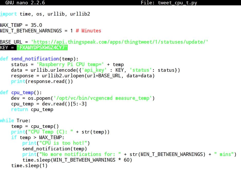 Whitelist: 2 - Raspberry Pi and ThingSpeak (I): sending