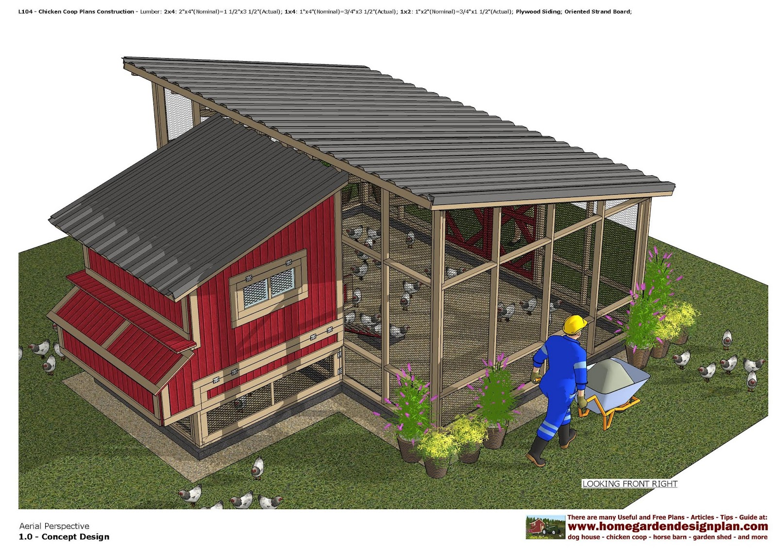 Home garden plans l104 chicken coop plans construction for How to build a chicken hutch