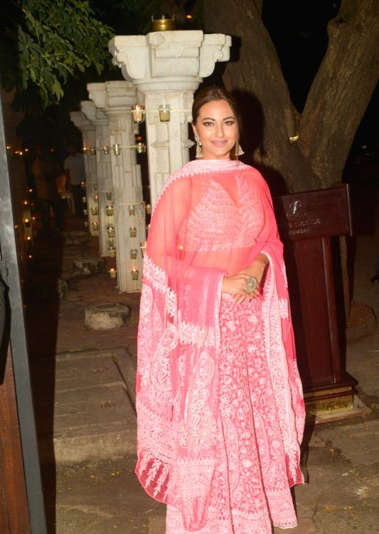 Actress Sonakshi Sinha In Red Dress At Diwali Party Celebrations