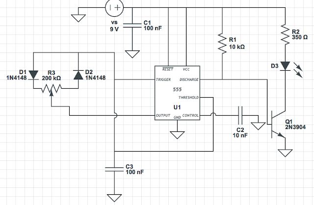 IC 555 generates a PWM signal