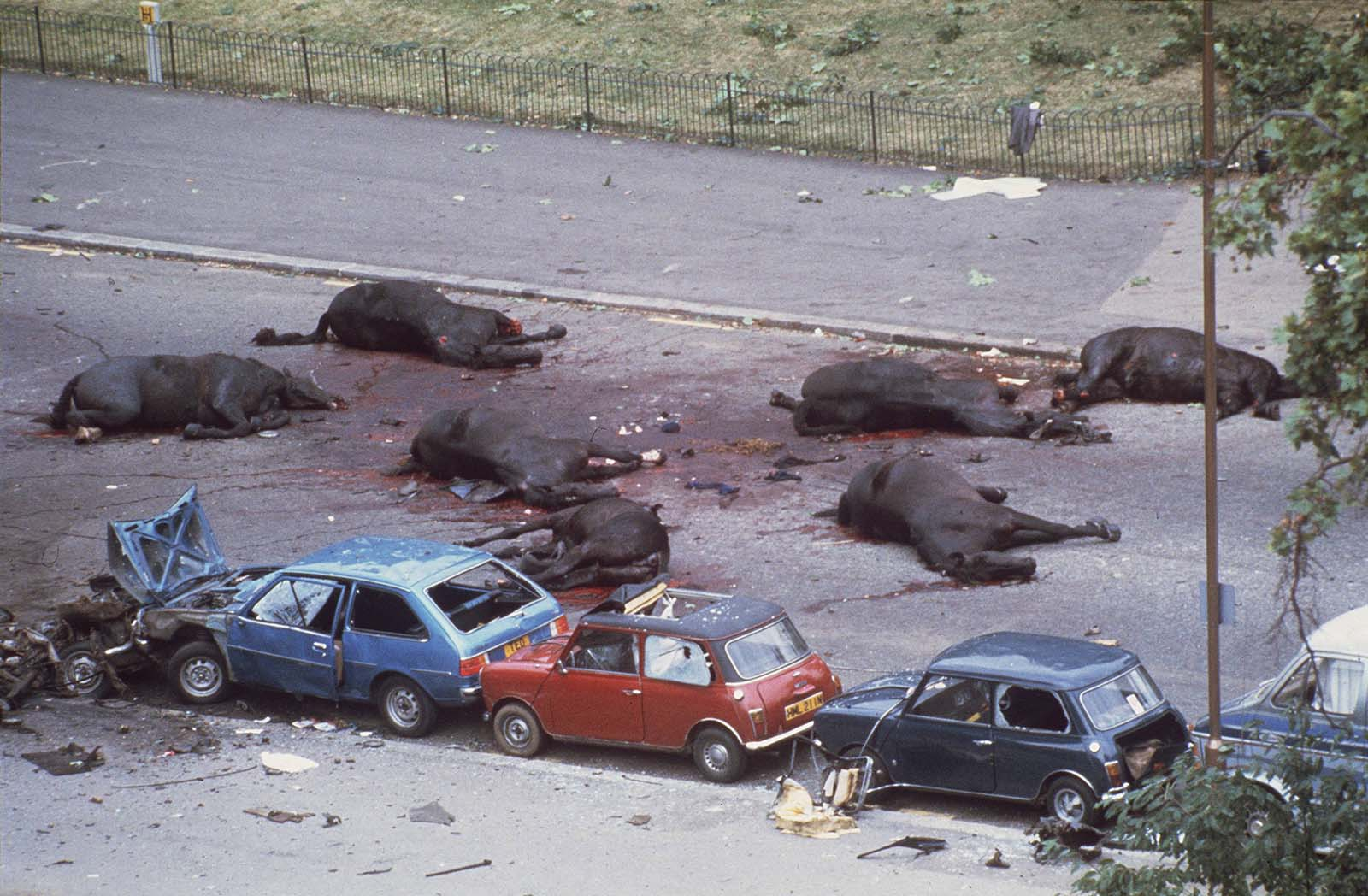 Aftermath of the Hyde Park bombing which killed four soldiers, 1982
