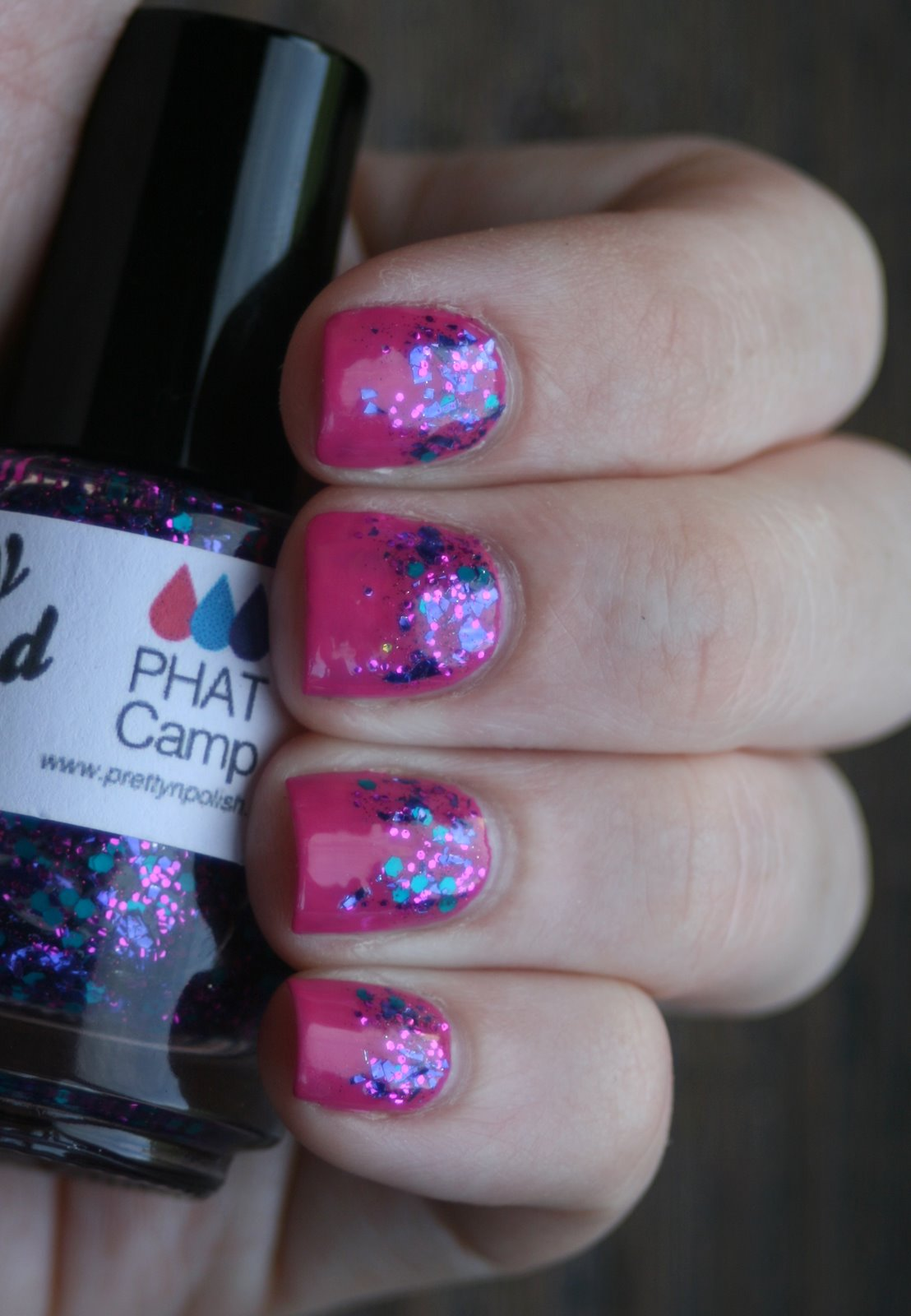 Pretty & Polished Phat Camp over OPI Kiss Me On My Tulips swatch