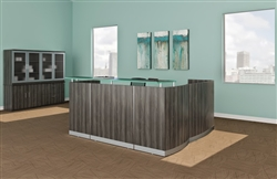 Gray Reception Desk with Glass Accents at OfficeAnything.com